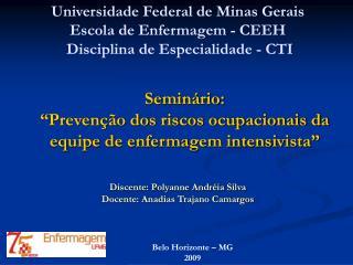 """Seminário:  """"Prevenção dos riscos ocupacionais da equipe de enfermagem intensivista"""""""