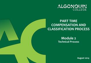 PART TIME COMPENSATION AND  CLASSIFICATION PROCESS