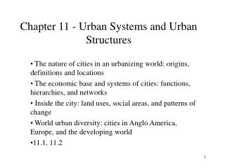 Chapter 11 - Urban Systems and Urban Structures