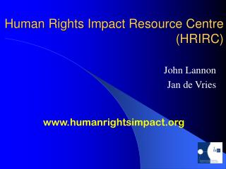 Human Rights Impact Resource Centre (HRIRC)