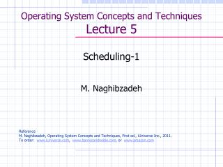 Operating System Concepts and Techniques  Lecture 5
