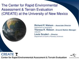 Richard P. Watson  – Associate Director Department of Geography