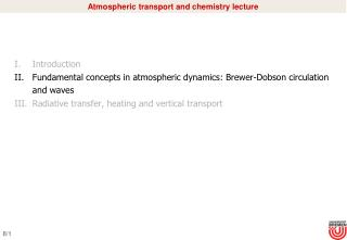 Atmospheric transport and chemistry lecture