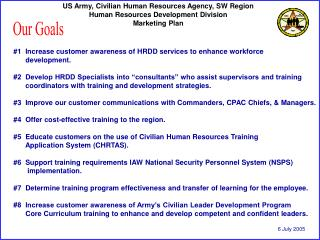 US Army, Civilian Human Resources Agency, SW Region Human Resources Development Division