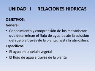 UNIDAD   I     RELACIONES HIDRICAS