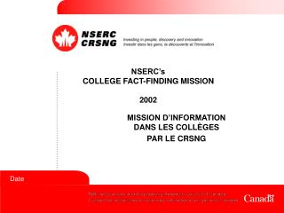 NSERC's COLLEGE FACT-FINDING MISSION  2002