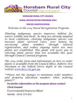 HORSHAM RURAL CITY COUNCIL  RURAL REVEGETATION PROGRAM 2014 SPECIES IDENTIFICATION