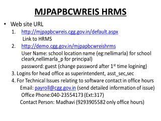 MJPAPBCWREIS HRMS