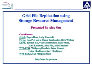 Grid File Replication using Storage Resource Management  Presented By Alex Sim Contributors: