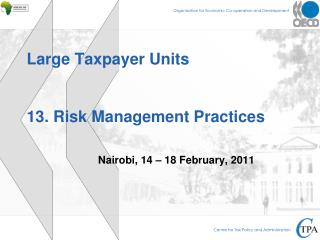 Large Taxpayer Units 13. Risk Management Practices