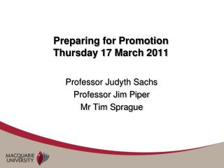 Preparing for Promotion Thursday 17 March 2011