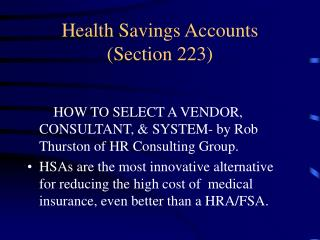 Health Savings Accounts  (Section 223)