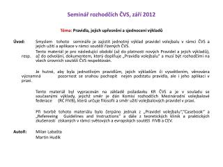 Seminář rozhodčích ČVS, září 2012