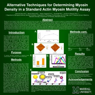 Alternative Techniques for Determining Myosin Density in a Standard Actin Myosin Motility Assay