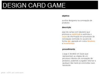 objetivo auxiliar designers na concepção de produtos descrição