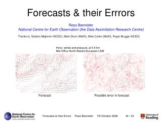Forecasts & their Errrors
