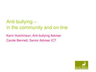 Anti-bullying –  in the community and on-line