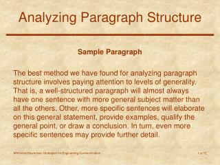 Analyzing Paragraph Structure