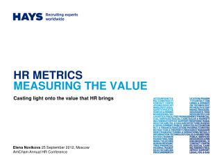 HR METRICS MEASURING THE VALUE