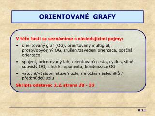 ORIENTOVANÉ  GRAFY