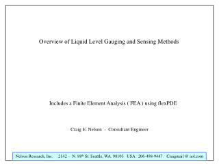 Overview of Liquid Level Gauging and Sensing Methods