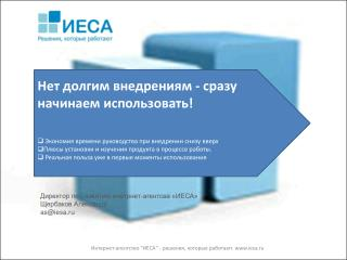 Директор по развитию  инетрнет-агентсва  «ИЕСА»  Щербаков Александр as@iesa.ru