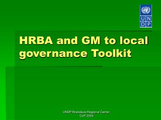HRBA and GM to local governance Toolkit