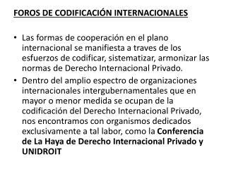 FOROS DE CODIFICACI�N INTERNACIONALES