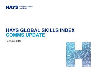 HAYS GLOBAL SKILLS INDEX  COMMS UPDATE
