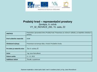 Pražský hrad – reprezentační prostory Zeměpis, 9. ročník VY_32_INOVACE_293, 15.  sada, Z2
