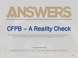 CFPB – A Reality Check