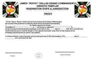 "JAMES ""ROCKY"" DALLAS GRAND COMMANDERY    KNIGHTS TEMPLAR WASHINGTON STATE & JURISDICTION"