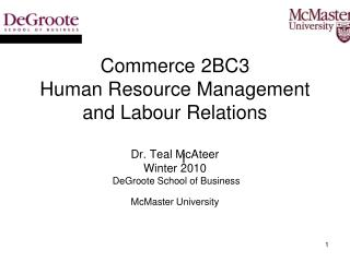Commerce 2BC3 Intro to Human Resource Management Week 1 _________________________________