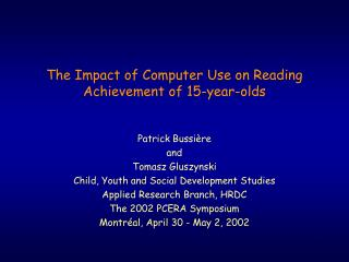 The Impact of Computer Use on Reading Achievement of 15-year-olds
