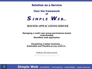 Solution as a Service  Over the framework  of S  I M P L E    W  E B�