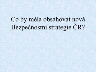 Co by měla obsahovat nová Bezpečnostní strategie ČR?