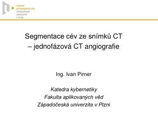 Segmentace cév ze snímků CT  – jednofázová CT angiografie Ing.  Ivan Pirner Katedra kybernetiky
