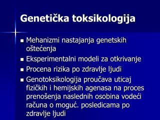 Genetička toksikologija