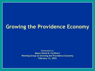 Growing the Providence Economy