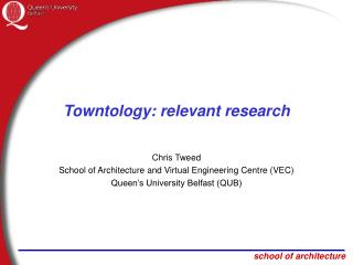Towntology: relevant research
