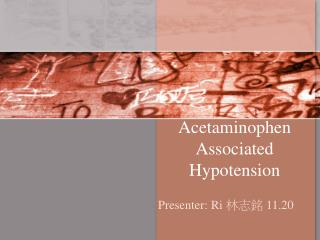 Acetaminophen Associated Hypotension