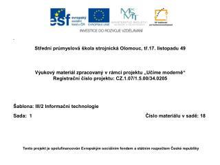 Střední  průmyslová škola strojnická Olomouc, tř.17. listopadu 49