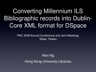 Converting Millennium ILS Bibliographic records into Dublin-Core XML format for DSpace