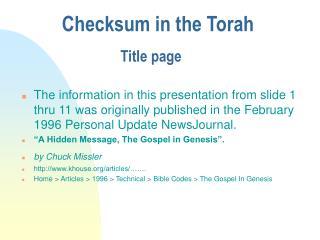 Checksum in the Torah