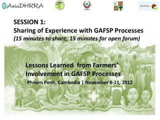 Lessons Learned  from Farmers' Involvement in GAFSP Processes