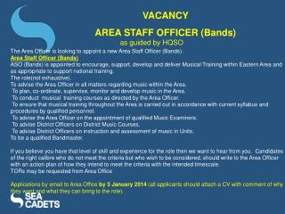 The Area Officer is looking to appoint a new Area Staff Officer (Bands).