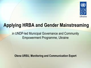 Applying HRBA and Gender Mainstreaming