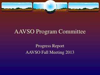 AAVSO Program Committee