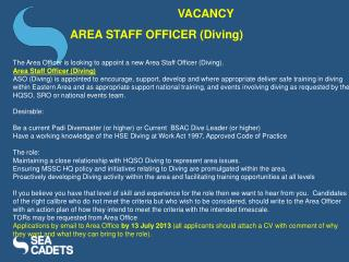 VACANCY  AREA STAFF OFFICER (Diving)