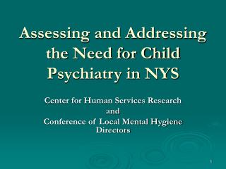 Assessing and Addressing the Need for Child Psychiatry in NYS
